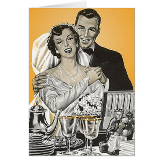 Retro Vintage Bride & Groom Gifts Thank You Cards