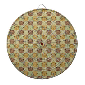 Retro Vintage Brown Green Embossed Pattern Dartboard With Darts