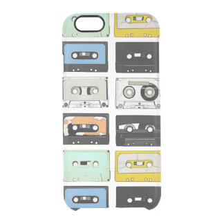 Retro vintage Cassette Mix Tapes art pattern Clear iPhone 6/6S Case