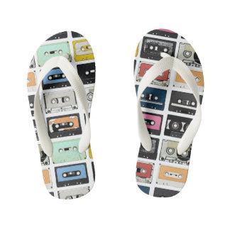 Retro vintage Cassette Mix Tapes art pattern Kid's Thongs