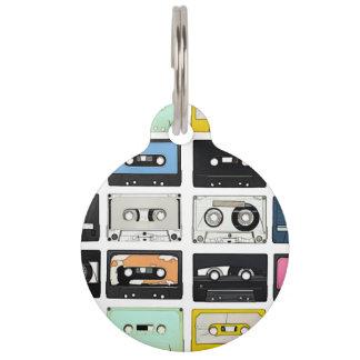Retro vintage Cassette Mix Tapes art pattern Pet ID Tag