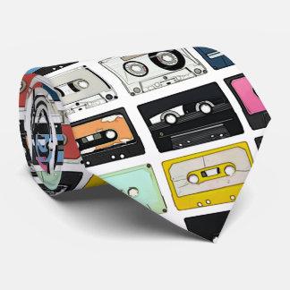 Retro vintage Cassette Mix Tapes art pattern Tie