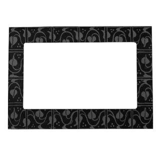 Retro Vintage Charcoal Gray Black Leaf Vines Magnetic Frame
