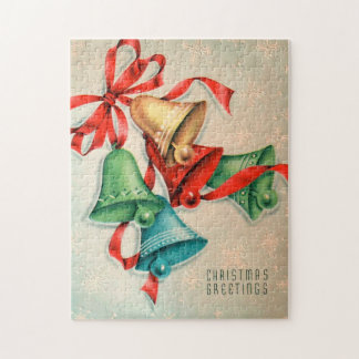 Retro Vintage Christmas bells Holiday puzzle