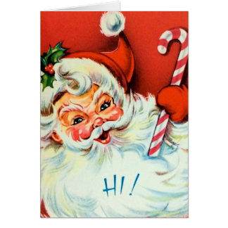 Retro Vintage Christmas customizable Santa card
