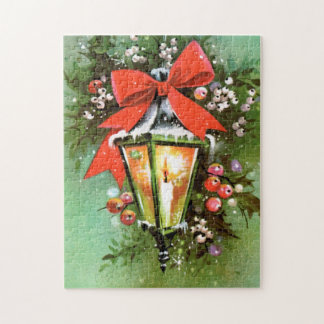 Retro Vintage Christmas Holiday lamp puzzle