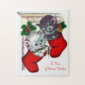 Retro Vintage Christmas kittens card puzzle