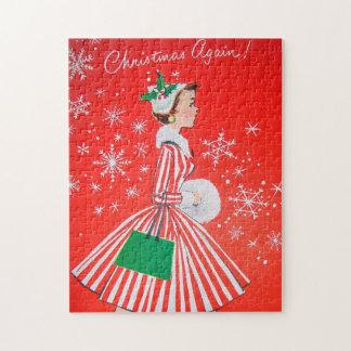 Retro Vintage Christmas lady Holiday puzzle