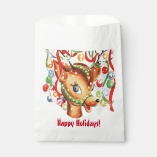 Retro Vintage Christmas Reindeer Confetti Favour Bags