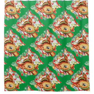 Retro Vintage Christmas Reindeer Confetti Shower Curtain