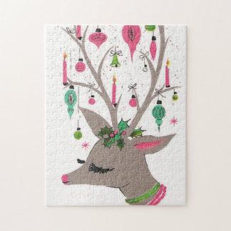 Retro Vintage Christmas reindeer Festive puzzle