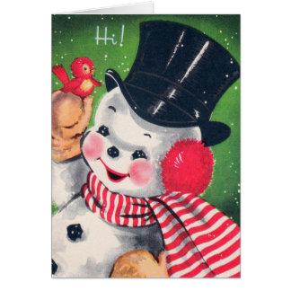 Retro Vintage Christmas snowman add text card