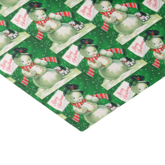 Retro Vintage Christmas snowman Holiday tissue Tissue Paper