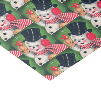 Retro Vintage Christmas snowman party tissue Tissue Paper
