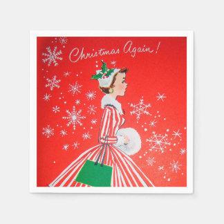 Retro Vintage Christmas woman party paper napkins