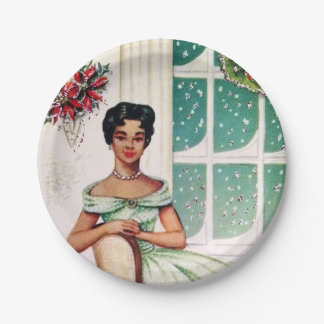 Retro Vintage Christmas woman party plate