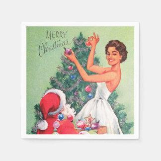 Retro Vintage Christmas woman Santa party napkins Paper Serviettes