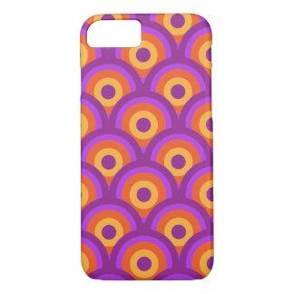 Retro Vintage Circles Pattern Orange Purple iPhone 7 Case