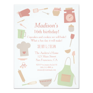 Retro Vintage Cooking Baking Birthday Party Card