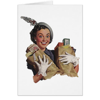 Retro Vintage Coupon Shopping Lady Happy Note Card