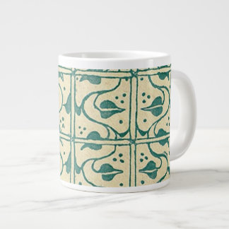 Retro Vintage Creme Green Leaf Vines Jumbo Mug