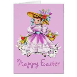 Retro/Vintage Easter Girl Card