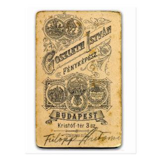 Retro Vintage Ephemera Budapest Official Document Postcard