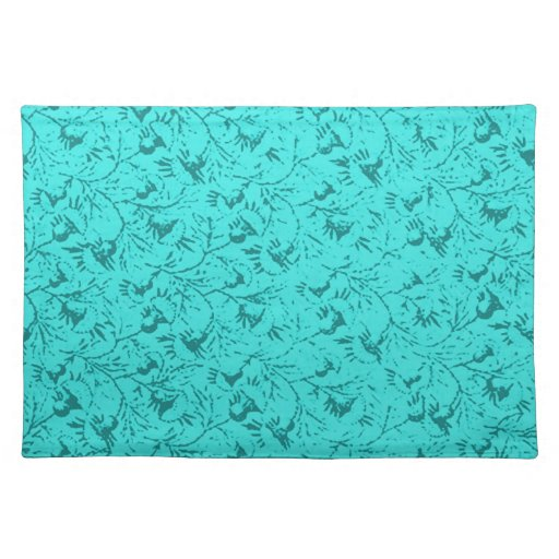 Retro Vintage Feathery Floral Teal Peacock Placema Place Mat