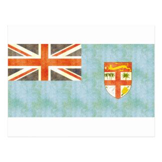 Retro Vintage Fiji Flag Postcard