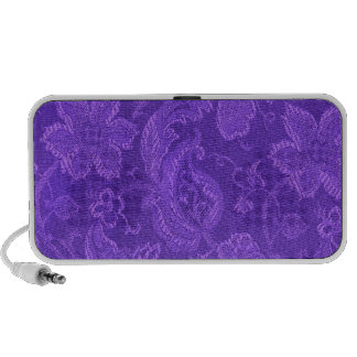 Retro Vintage Floral Amethyst Purple Portable Travel Speaker