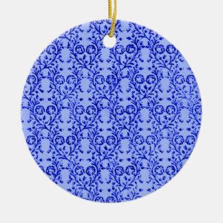 Retro Vintage Floral Blue Round Ornament