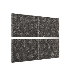Retro Vintage Floral Charcoal Black Violets Flower Stretched Canvas Prints