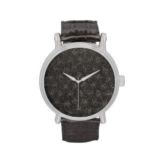 Retro Vintage Floral Charcoal Black Violets Flower Watches