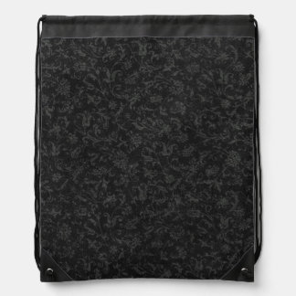 Retro Vintage Floral Charcoal Gray Black Flowers Drawstring Bags
