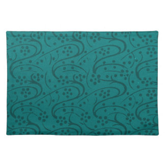 Retro Vintage Floral Dark Teal Placemats Cloth Place Mat