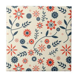 Retro Vintage Floral Flower Seamless Pattern Ceramic Tile