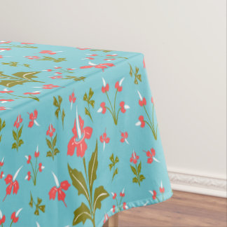 Retro Vintage Floral Pink Green White Blue Flowers Tablecloth