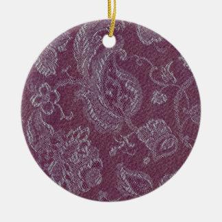Retro Vintage Floral Plum Rouge Round Ornament