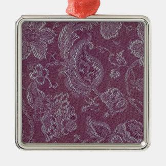 Retro Vintage Floral Plum Rouge Square Ornament