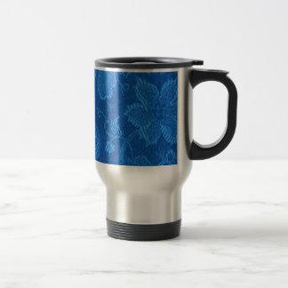 Retro Vintage Floral Sapphire Blue Travel Mug