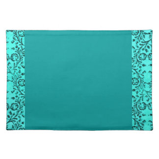 Retro Vintage Floral Teal Boardered Teal Placemats