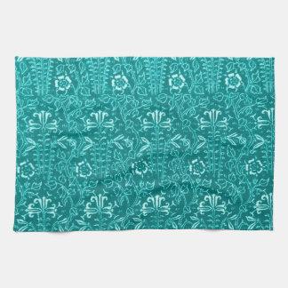 Retro Vintage Floral Teal Kitchen Towels