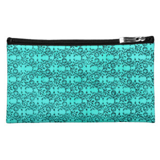 Retro Vintage Floral Turquoise Teal Peacock Cosmetic Bags