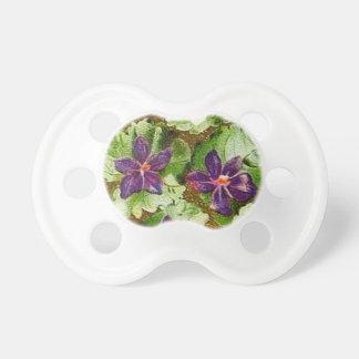 Retro Vintage Floral Violets Baby Binky Pacifier