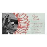 Retro vintage flower petal save the date photocard customized photo card