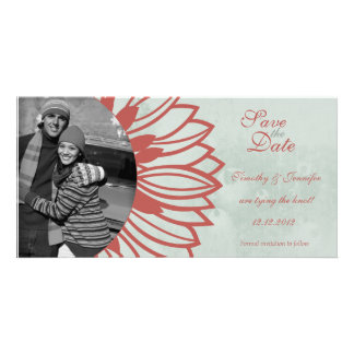 Retro vintage flower petal save the date photocard customized photo card