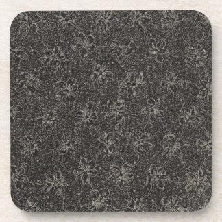 Retro Vintage Flowers Black Cork Coaster