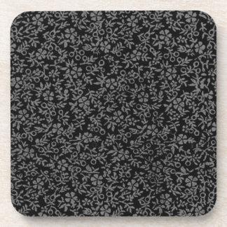 Retro Vintage Flowers Charcoal Black Cork Coaster