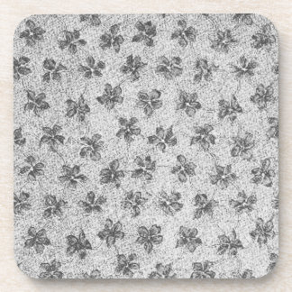 Retro Vintage Flowers Charcoal Gray Cork Coaster