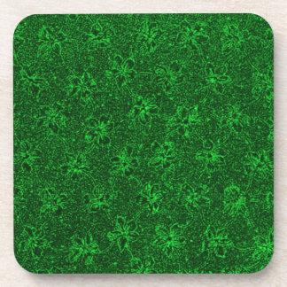 Retro Vintage Flowers Green Cork Coaster